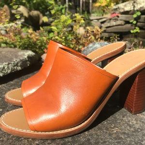J. Crew Leather Stacked Heel Slides Caramel 6